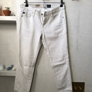 AG Jeans White with Grey Pinstripe